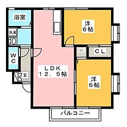 ヴェルメゾン筥松[2階]の間取り