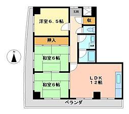 愛知県名古屋市西区上小田井2丁目の賃貸マンションの間取り