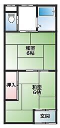 寺方本通 アパート[2階]の間取り
