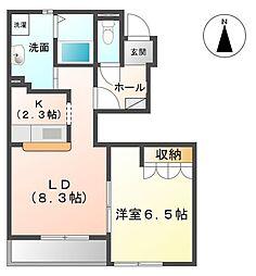茨城県ひたちなか市阿字ケ浦町の賃貸アパートの間取り