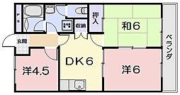 三重県松阪市荒木町の賃貸アパートの間取り