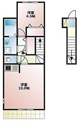 JR山陽本線 土山駅 4kmの賃貸アパート 2階1LDKの間取り