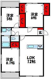福岡県宗像市日の里6丁目の賃貸マンションの間取り
