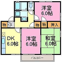 愛知県知多市つつじが丘4丁目の賃貸アパートの間取り