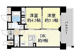 エステムコート新大阪13ニスタ 2階1DKの間取り