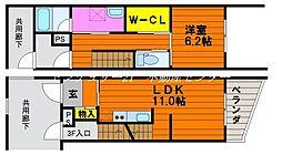 JR山陽本線 瀬戸駅 徒歩5分の賃貸タウンハウス 1階1LDKの間取り