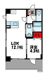 JR篠栗線 柚須駅 徒歩24分の賃貸マンション 6階1LDKの間取り