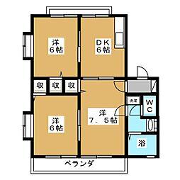 レトア新西方A−6[1階]の間取り