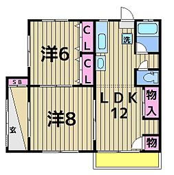 増田マンション[100号室]の間取り