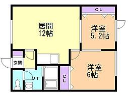 ハイム新川34 2階2LDKの間取り