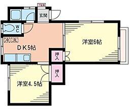 神奈川県横浜市港北区樽町2丁目の賃貸アパートの間取り