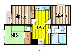 埼玉県さいたま市浦和区本太2丁目の賃貸マンションの間取り