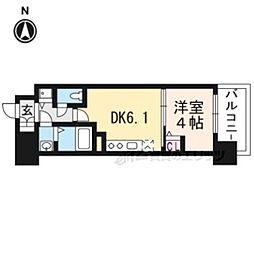 アスヴェル京都太秦309 3階1DKの間取り