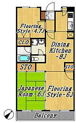 東京都江戸川区南葛西5丁目の賃貸マンションの間取り