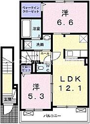 香川県高松市一宮町の賃貸アパートの間取り