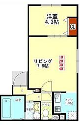 札幌市営東西線 円山公園駅 徒歩15分の賃貸マンション 3階1LDKの間取り