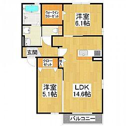 大阪府堺市東区日置荘北町の賃貸アパートの間取り