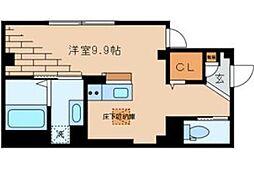 東京メトロ千代田線 根津駅 徒歩4分の賃貸マンション 2階ワンルームの間取り