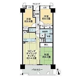 サーパス高松町[8階]の間取り