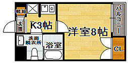 福岡県福岡市中央区港3丁目の賃貸マンションの間取り