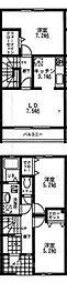 [テラスハウス] 神奈川県厚木市妻田北1丁目 の賃貸【神奈川県 / 厚木市】の間取り