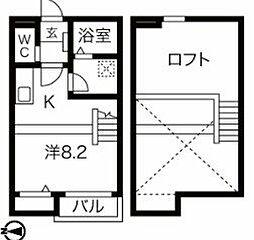 名古屋市営名城線 ナゴヤドーム前矢田駅 徒歩10分の賃貸アパート 2階ワンルームの間取り