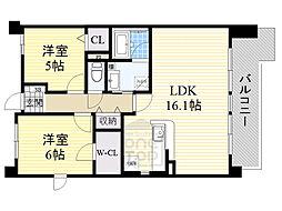 北大阪急行電鉄 桃山台駅 徒歩20分の賃貸マンション 2階2LDKの間取り