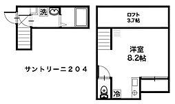 lifeship 湘南辻堂 サントリーニ 2階ワンルームの間取り