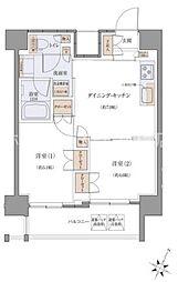 東京都品川区北品川2丁目の賃貸マンションの間取り