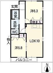 ガーデンハイムA棟[1階]の間取り