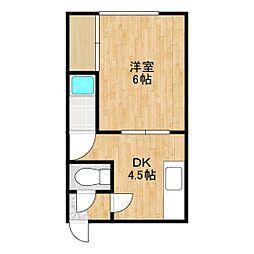 カレッジハウス若葉NO.3 2階1DKの間取り