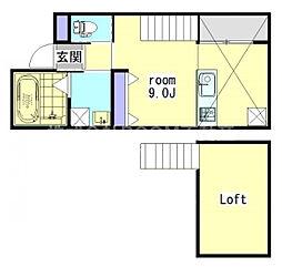 La ville 1階ワンルームの間取り