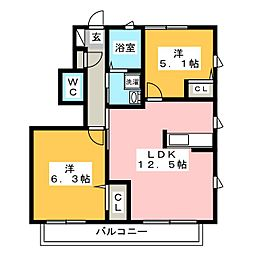 ビューコートM D棟[2階]の間取り