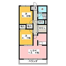 ロータスコート[1階]の間取り
