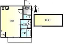 京急本線 弘明寺駅 徒歩14分の賃貸アパート 2階ワンルームの間取り