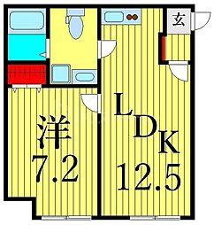 JR山手線 田端駅 徒歩10分の賃貸マンション 1階1LDKの間取り