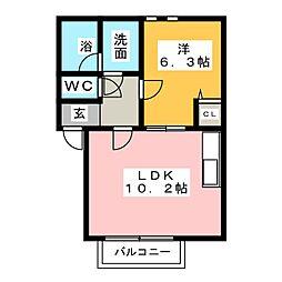 オアシスコート[3階]の間取り