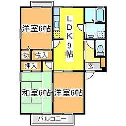 広島県東広島市西条下見5丁目の賃貸アパートの間取り