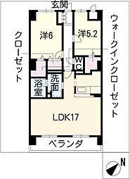 三重県松阪市宮町の賃貸マンションの間取り