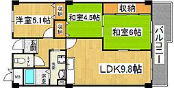 四条畷サカモトマンション[4階]の間取り
