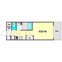 プレサンス大阪ドームシティスクエア 6階1Kの間取り