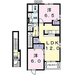 JR中央本線 茅野駅 徒歩37分の賃貸アパート 2階2LDKの間取り