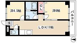 第3フクマルビル 4階2LDKの間取り
