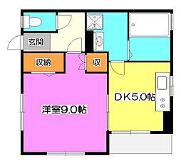 中里1丁目貸家[1階]の間取り