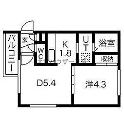 NatuRise 1階1DKの間取り
