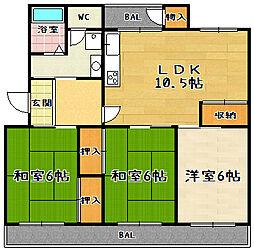 醍醐上ノ山団地B1棟[504号室]の間取り