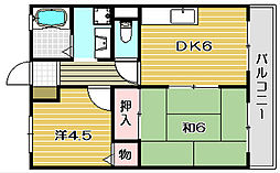 大阪府高槻市東天川1丁目の賃貸アパートの間取り