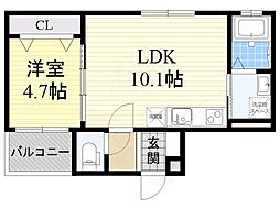 阪急京都本線 南茨木駅 徒歩10分の賃貸アパート 2階1LDKの間取り
