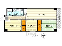阪急千里線 千里山駅 徒歩15分の賃貸マンション 6階3LDKの間取り