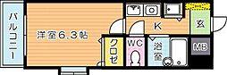 福岡県北九州市八幡東区桃園2丁目の賃貸マンションの間取り